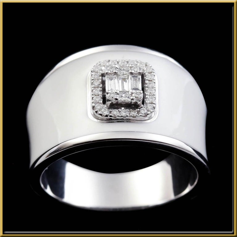 For Sale: undefined Diamond Emerald Illusion Fashion Ring with White Enamel in 18 Karat Gold 2