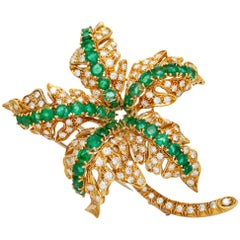 Diamond Emerald Leaf Brooch