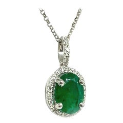 Diamond Emerald Necklace 18k White Gold 1.43 TCW Italy Certified