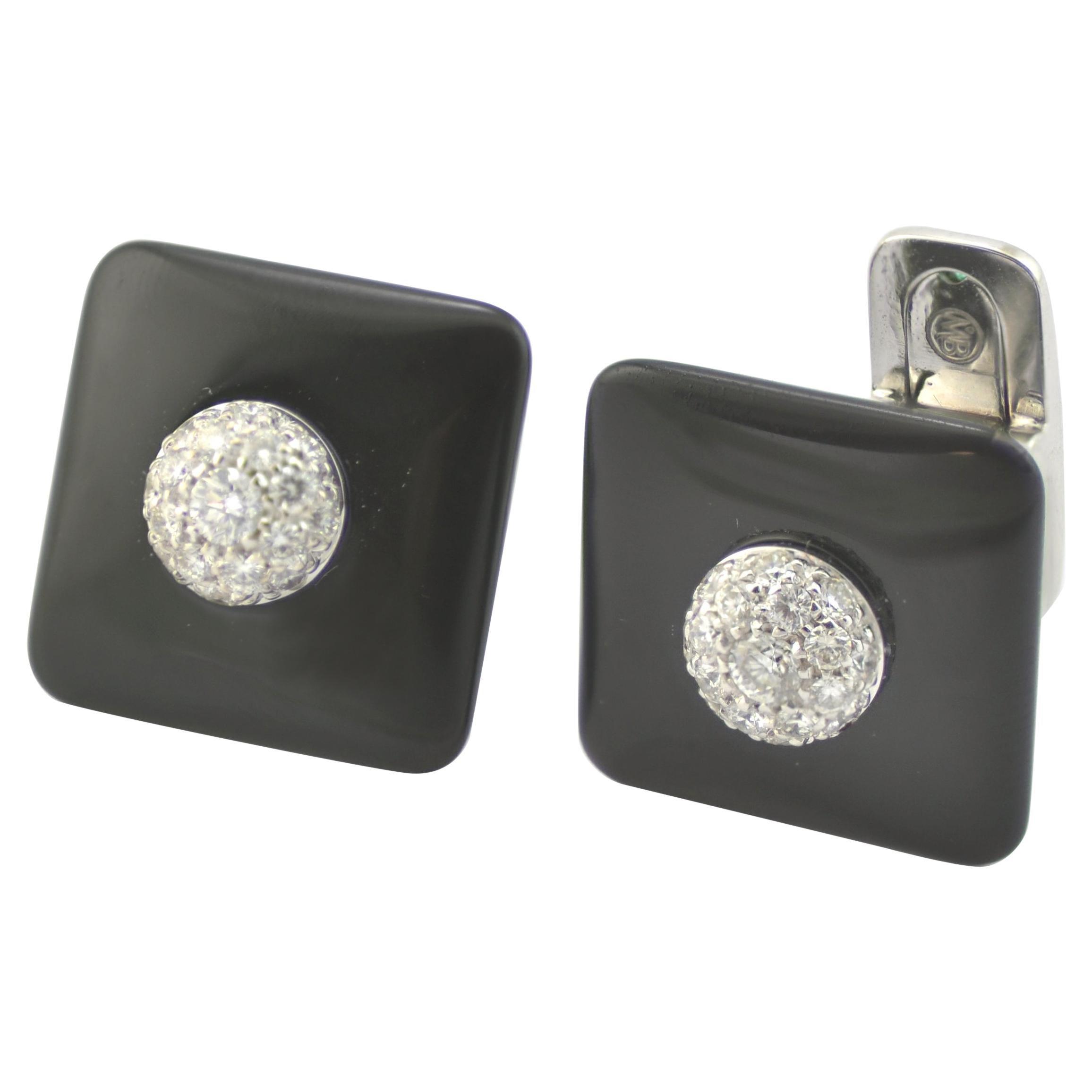 Diamond Emerald Onyx 18K White Gold Made in Italy Cufflinks