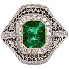 Diamond Emerald Open Work Platinum Cocktail Ring