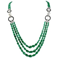 Diamond Emerald Pearl and Onyx 18 Karat Gold Multistrand Bead Necklace
