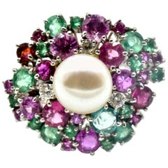 Diamond, Emerald, Pink Sapphire and Pearl Cocktail Ring 18 Karat White Gold