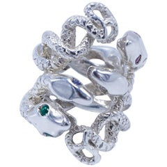 Diamond Emerald Pink Sapphire Snake Ring Sterling Silver Cocktail Ring J Dauphin