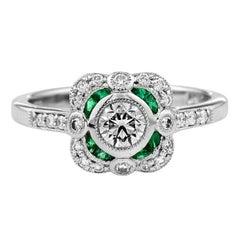 Diamond Emerald Platinum Cocktail Ring