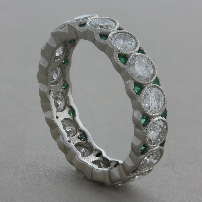 Round Cut Diamond Emerald Platinum Eternity Band Ring For Sale