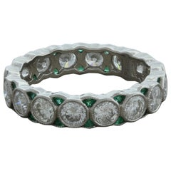 Diamond Emerald Platinum Eternity Band Ring