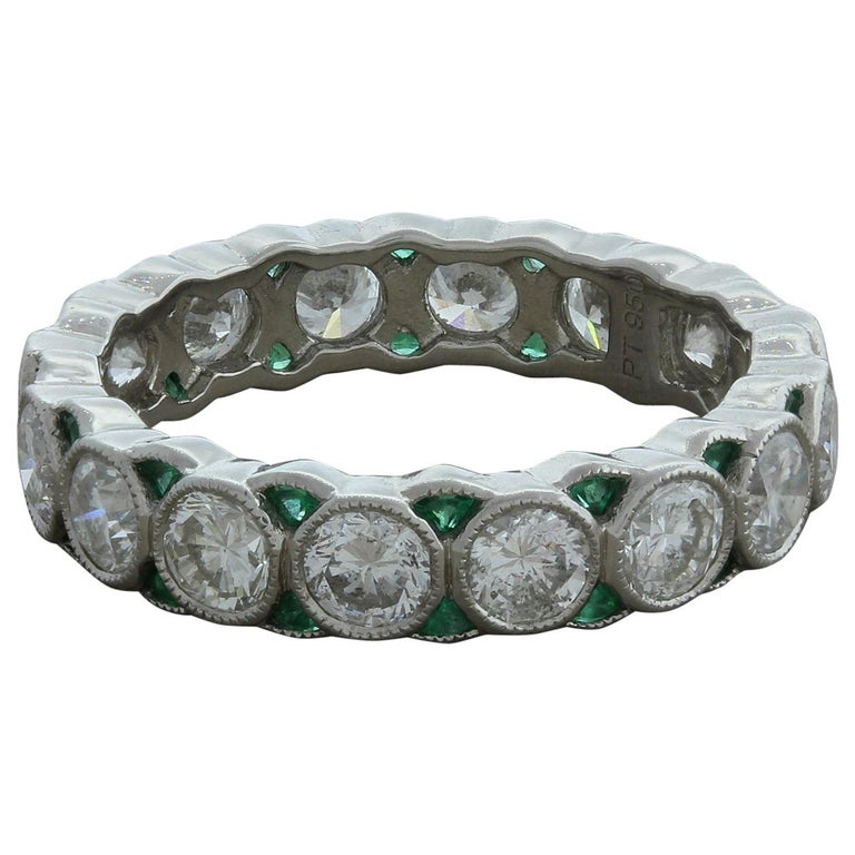Diamond Emerald Platinum Eternity Band Ring For Sale