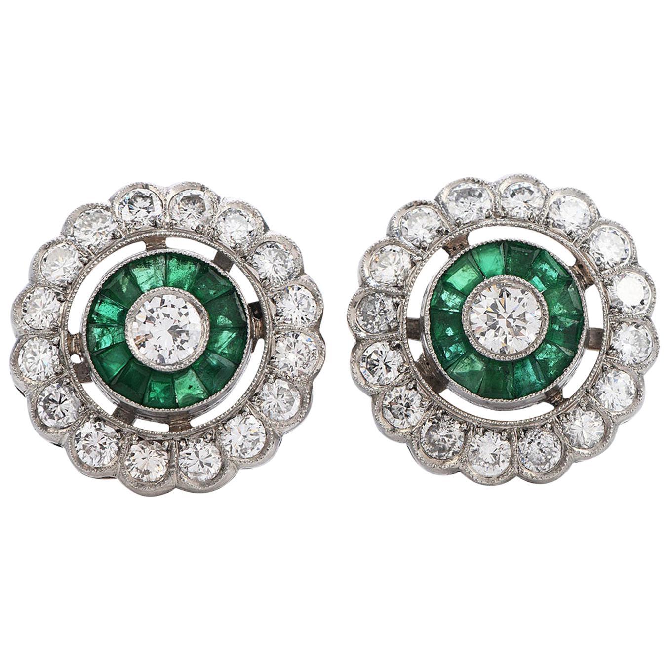 Diamond Emerald Platinum Flower Stud Earrings