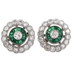 Diamond Emerald Platinum Flower Stud Earrings