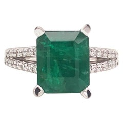 Diamond Emerald Platinum Ring 4.60 TCW Certified