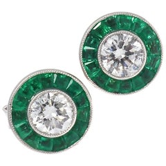 Diamond Emerald Platinum Stud Earrings
