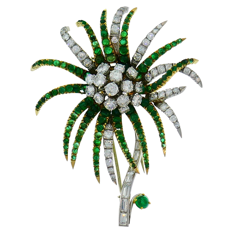 Diamond Emerald Platinum Yellow Gold Brooch Pin Clip, French, 1960s