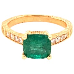 Diamond Emerald Ring 14k Gold 2.01 TCW Women Certified