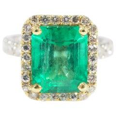 Diamond Emerald Ring Halo White Yellow Gold 18 Karat 5.48 Carat Emerald