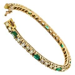Diamond Emerald Rose Gold Tennis Bracelet