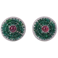 Diamond Emerald Round Big Spinal Cab Ear Clip