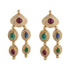 Diamond, Emerald Ruby and Blue Sapphire Drop Chandelier Earring
