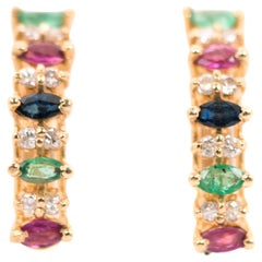 Diamond, Emerald, Ruby and Sapphire 14 Karat Yellow Gold Hoop Earrings, 1970s