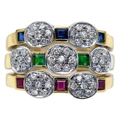 Diamond Emerald Ruby and Sapphire 18 Karat Gold Ring