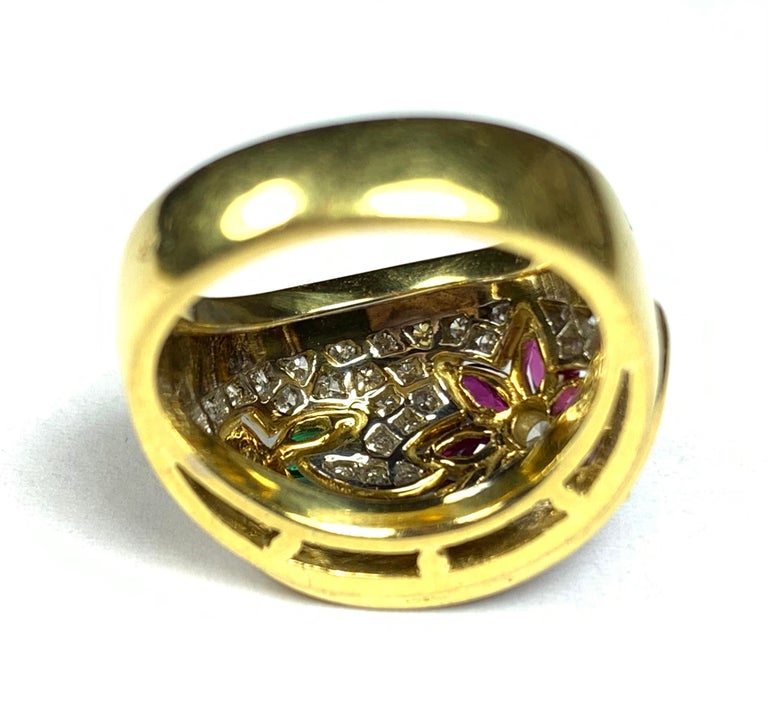Modern Diamond, Emerald and Ruby Flower Ring For Sale