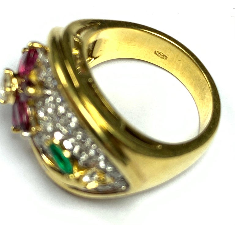 Brilliant Cut Diamond, Emerald and Ruby Flower Ring For Sale