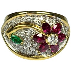 Diamond, Emerald and Ruby Flower Ring