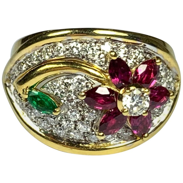 Diamond, Emerald and Ruby Flower Ring For Sale