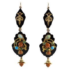 Diamond Emerald Ruby Opal Turquoise Coral Onyx Yellow Gold Lever-Back Earrings