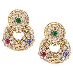 Diamond, Emerald, Ruby, Sapphire Door Knocker Earrings