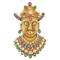 Diamond Emerald Ruby Sapphire Gold Brooch Pendant
