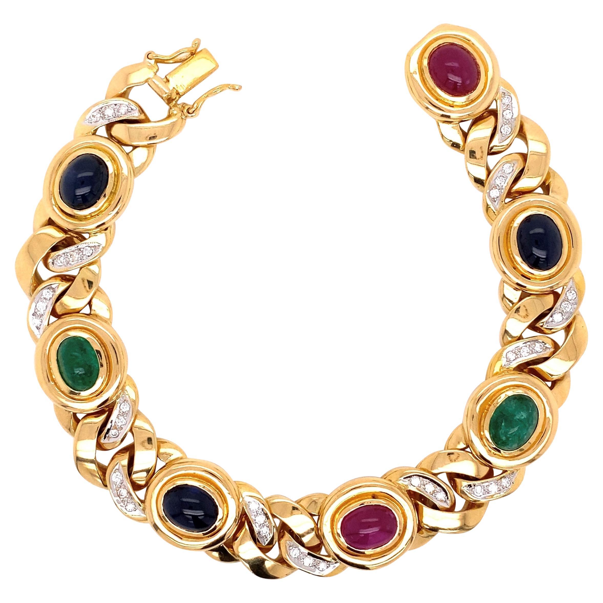 Diamond Emerald Ruby Sapphire Gold Link Bracelet Fine Estate Jewelry