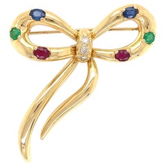 Diamond Emerald Ruby Sapphire Ribbon Bow Gold Brooch Pin Estate Fine Jewelry