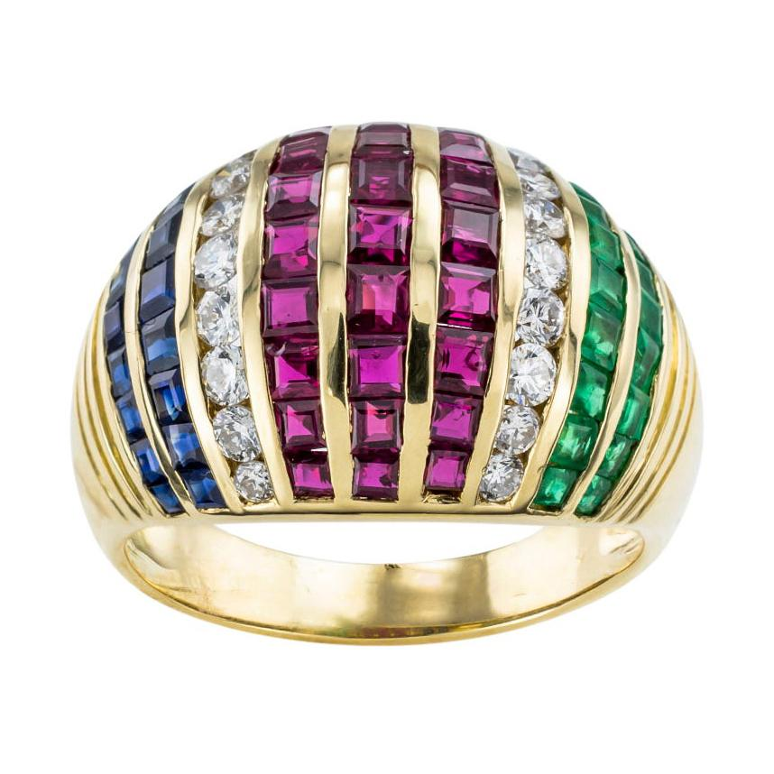 Diamond Emerald Ruby Sapphire Yellow Gold Domed Ring Size 8