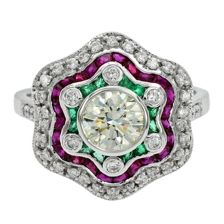 Diamond Emerald Ruby White Gold Cocktail Ring