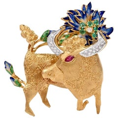Diamond Emerald Ruby Yellow Gold Iberian 'Toro Bravo' Pendant