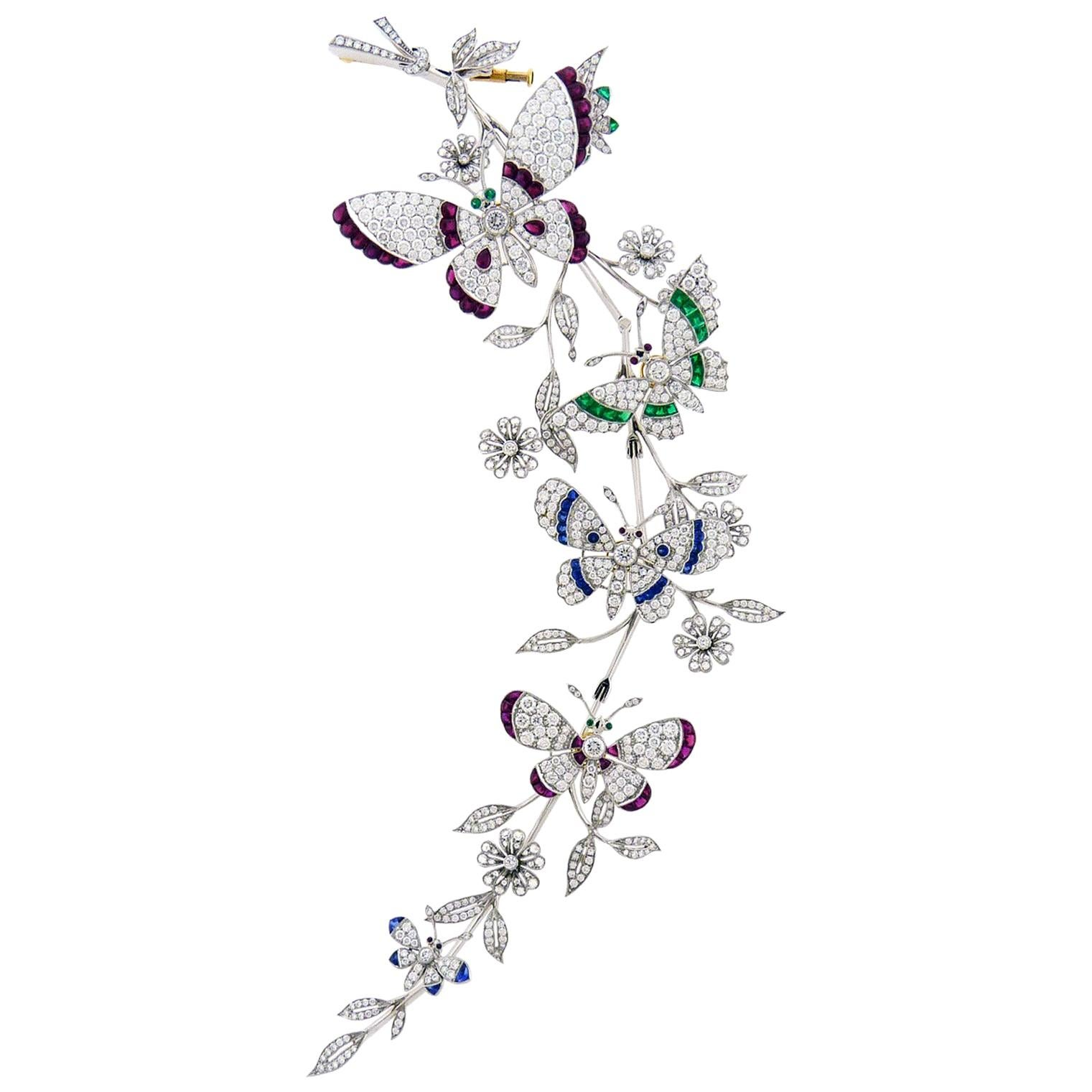 Diamond Emerald Sapphire and Ruby Butterflies and Flowers Gold Brooch