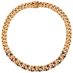 Diamond, Emerald, Sapphire and Ruby Curb Link Gold Necklace Fine Estate Jewelry