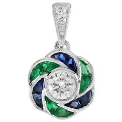 Fleur Rose French Cut Diamond Emerald and Sapphire Pendant in 18K Gold