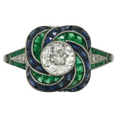 Diamond Emerald Sapphire Platinum Swirl Bombe Gem Engagement Ring Art Deco Style