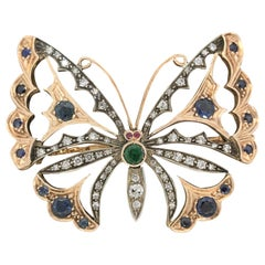 Diamond Emerald Sapphire Ruby Butterfly Two-Tone Gold Brooch