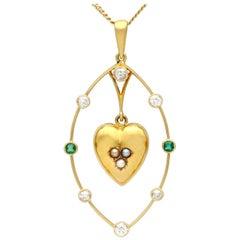 Diamond, Emerald, Seed Pearl and Yellow Gold Heart Pendant