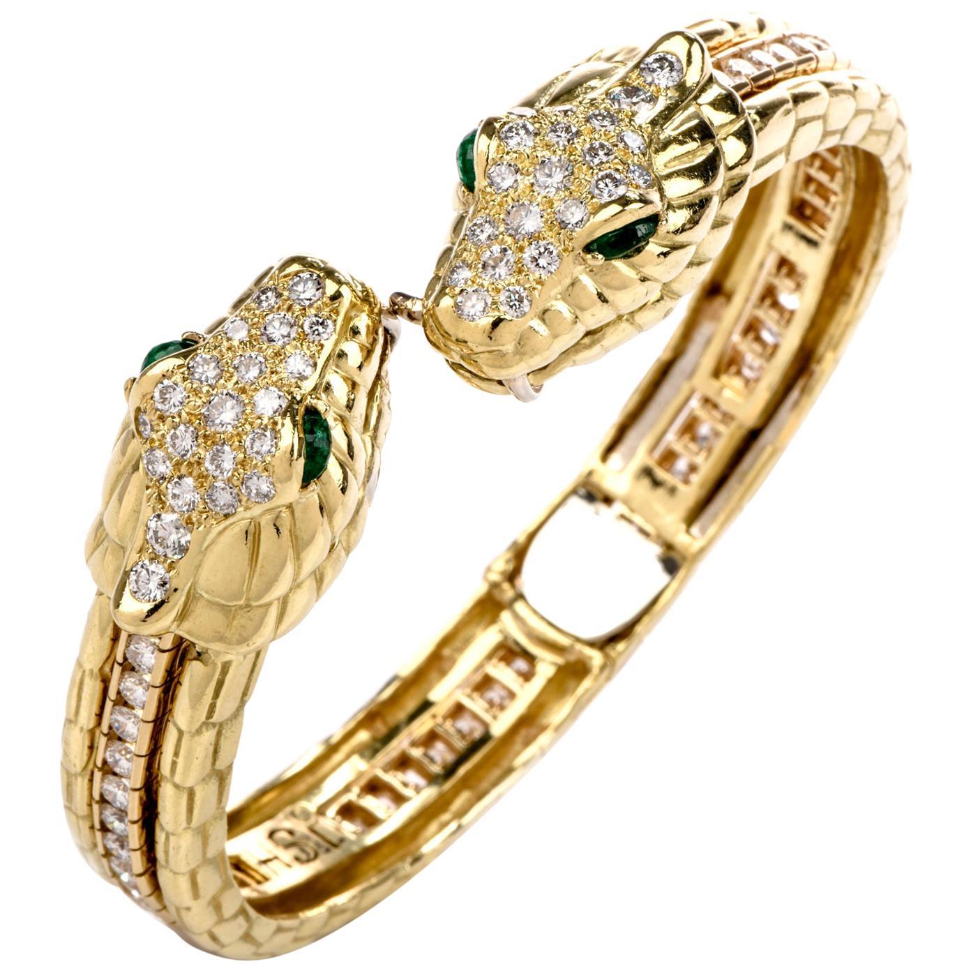 Diamond Emerald Snake Head 18 Karat Gold Cuff and Tennis Bracelet