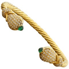 Diamond Emerald Twisted Gold Stretch Cuff Bracelet