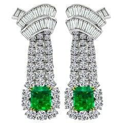 Diamond Emerald White Gold Chandelier Earrings