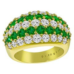 Diamond Emerald Yellow Gold Cluster Ring