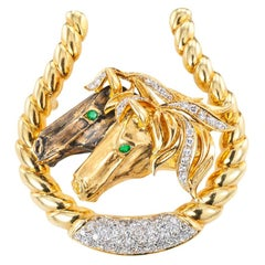 Diamond Emerald Yellow Gold Equestrian Brooch Pendant