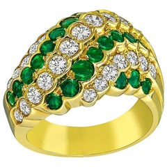Diamond Emerald Yellow Gold Ring