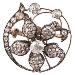 Diamond En Tremblant Floral Brooch/Pendant