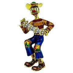 Diamond Enamel 18 Karat Yellow Gold Clown Pin/Pendant